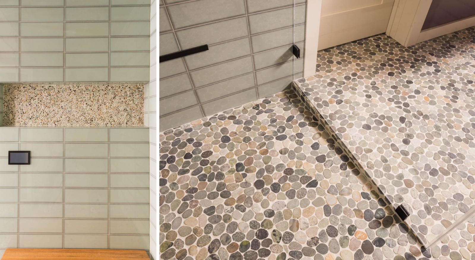 joy street design oakland master bathroom floors and shower nook in river rock