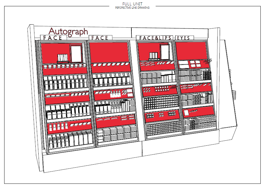 The chosen design concept utilises a modular tile system with integrated product trays to showcase the tester products and maximise stock loading. Each unit type was specifically designed to fit existing in store systems with all electrics being 'plug and play' to speed up the installation process.