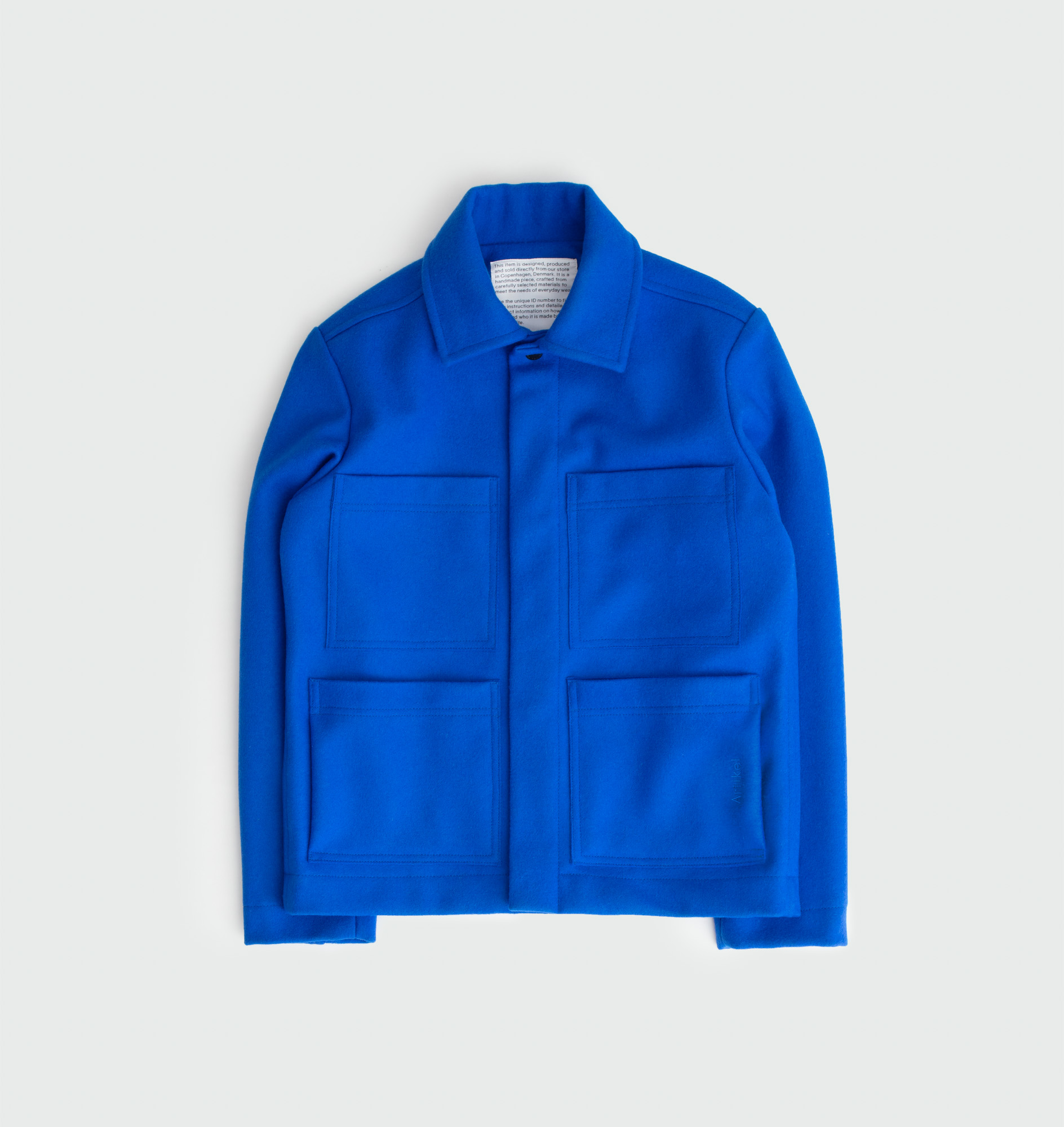 Blue wool jacket with Italian buttons by Artikel København, produced in Copenhagen
