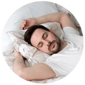 Man resting peacefully, not snoring