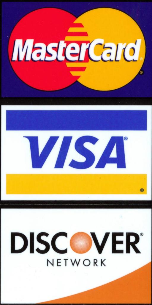 Icon of mastercard, visa, and discover card logos