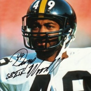 A autographed photo of Dwayne Woodruff in his Steeler's uniform