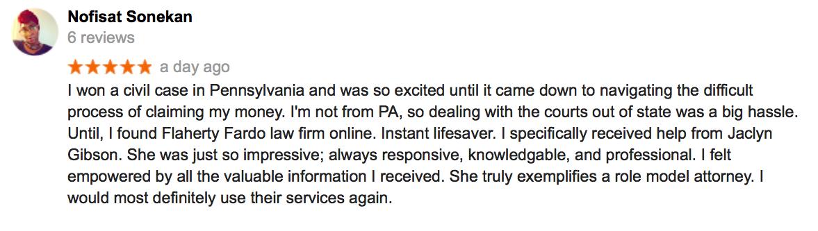 A screenshot of a 5 star review.