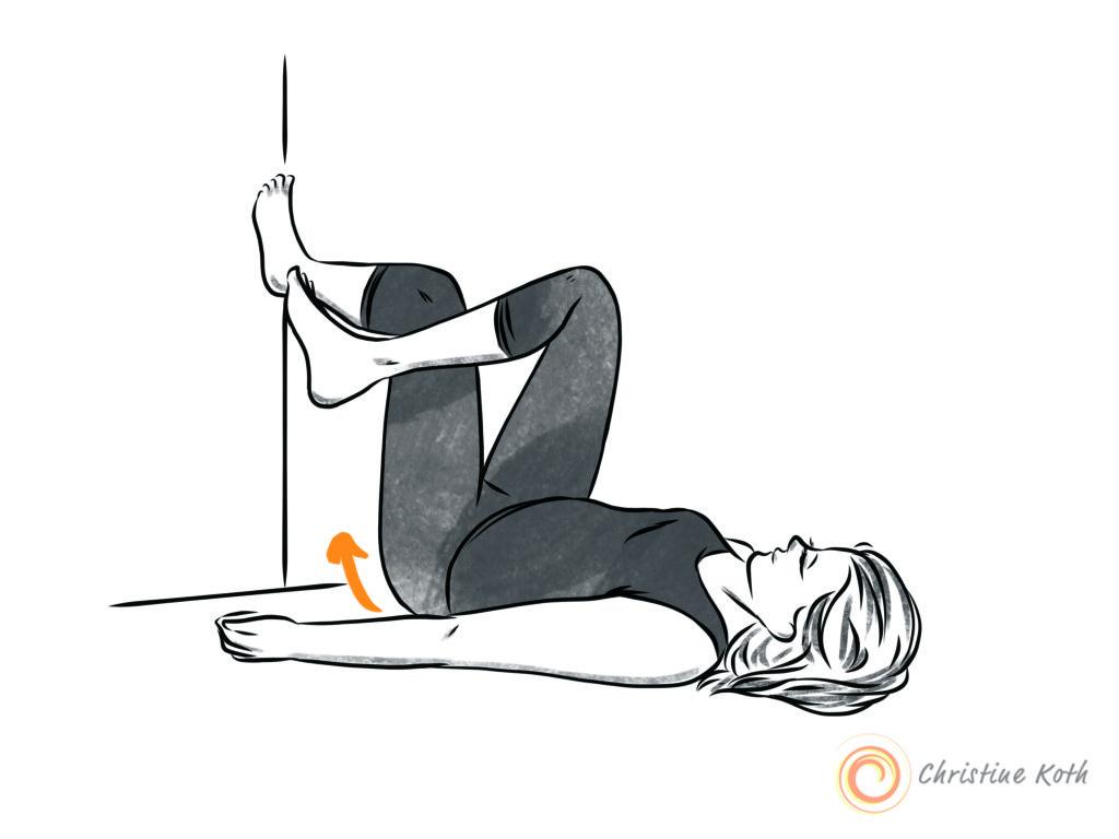 wall assisted figure four 4 stretch sciatica