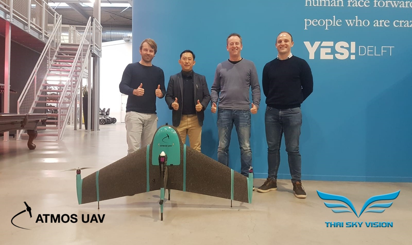 Sander Hulsman, Sakan Ariyachotima, René Worms, and James McLachlan at Atmos UAV HQ