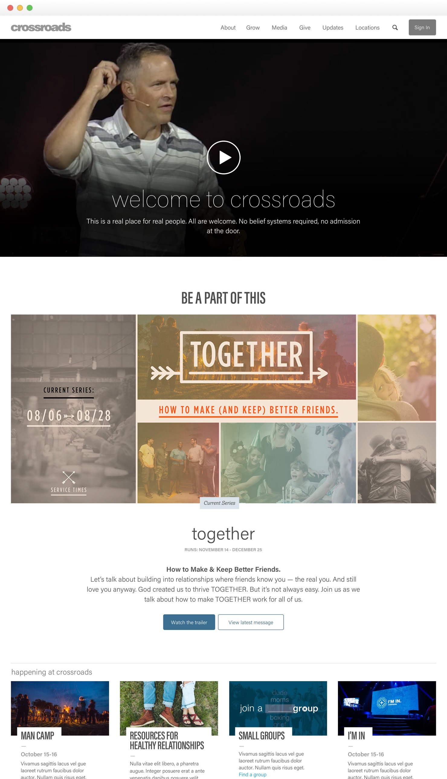 Crossroads Home page redesign