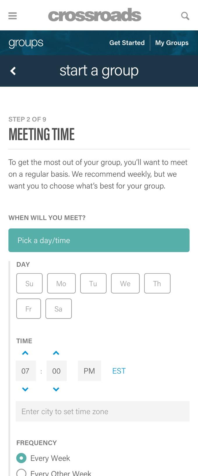 Crossroads Finder - Start a group