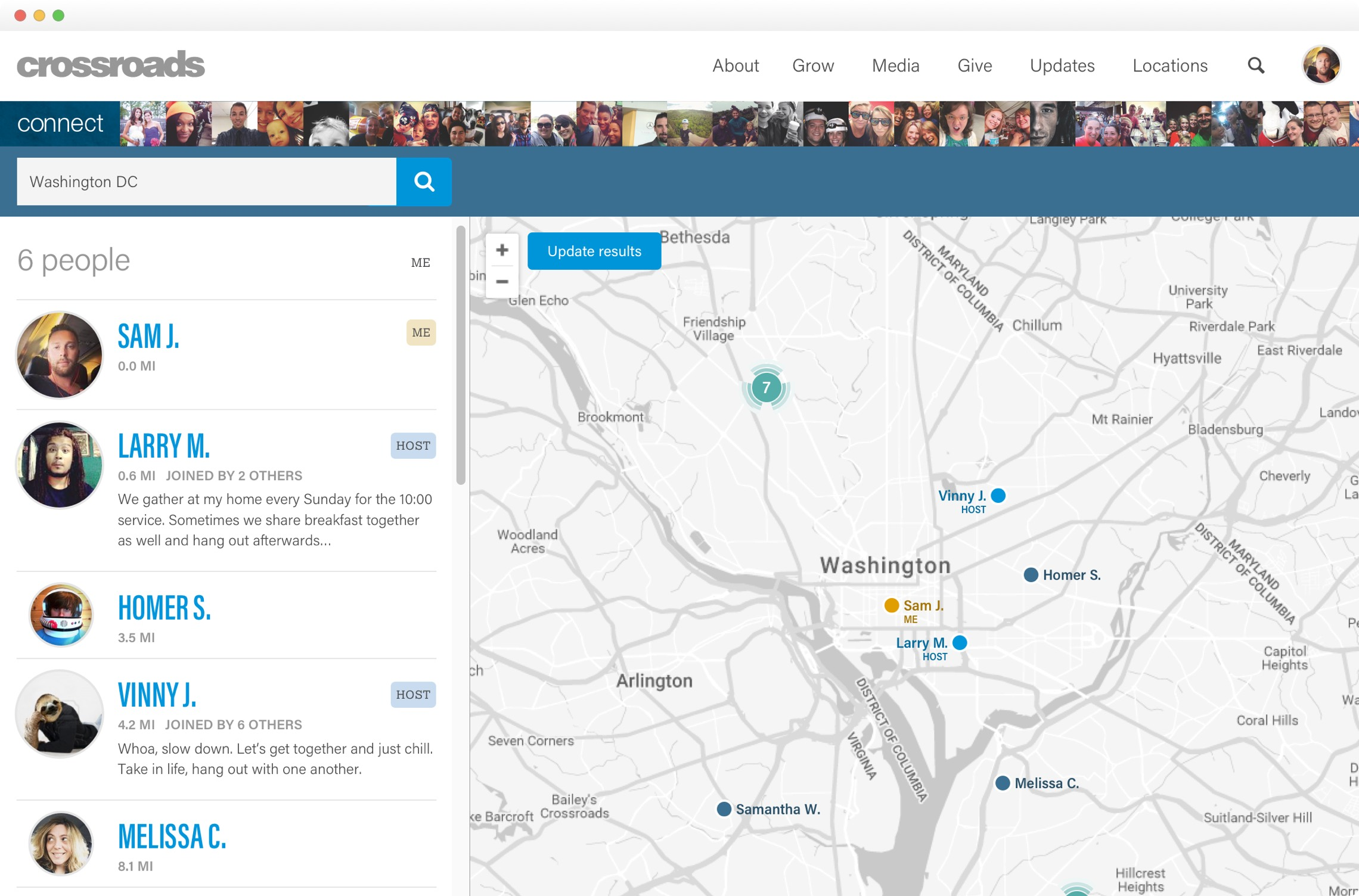 Crossroads Finder - Map view