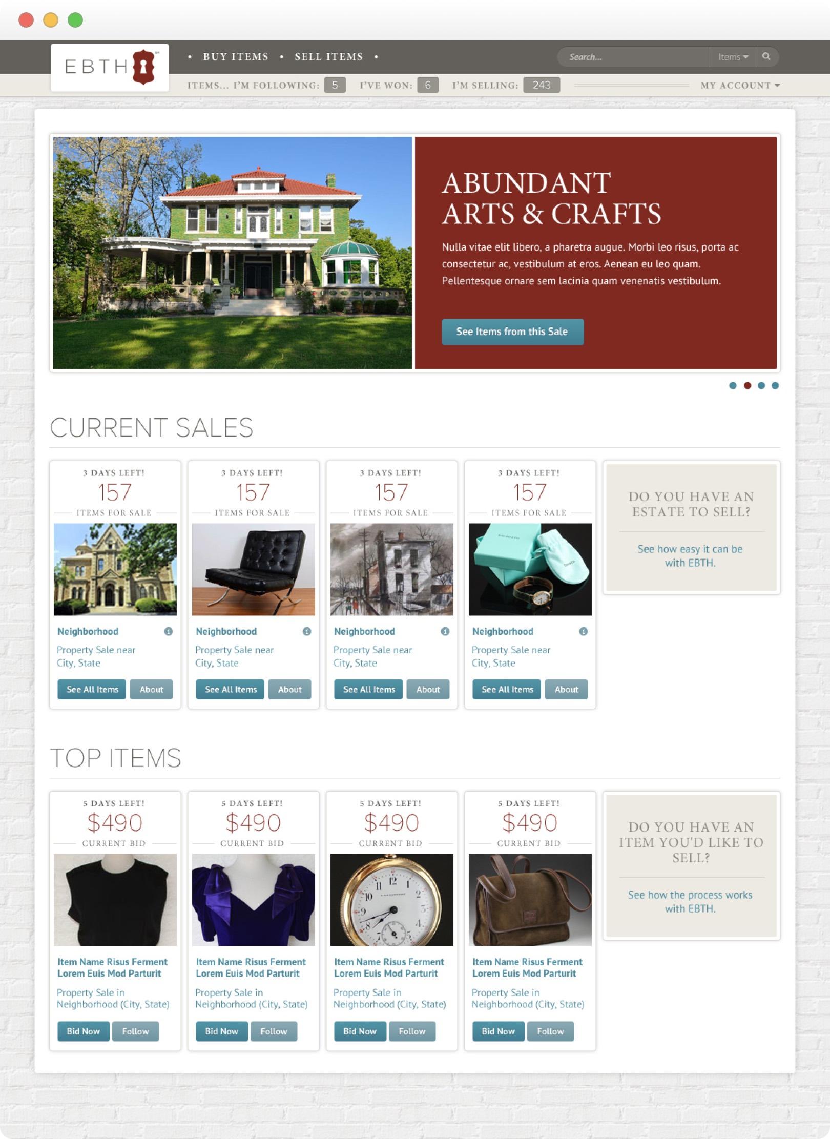 EBTH - Design - Home page