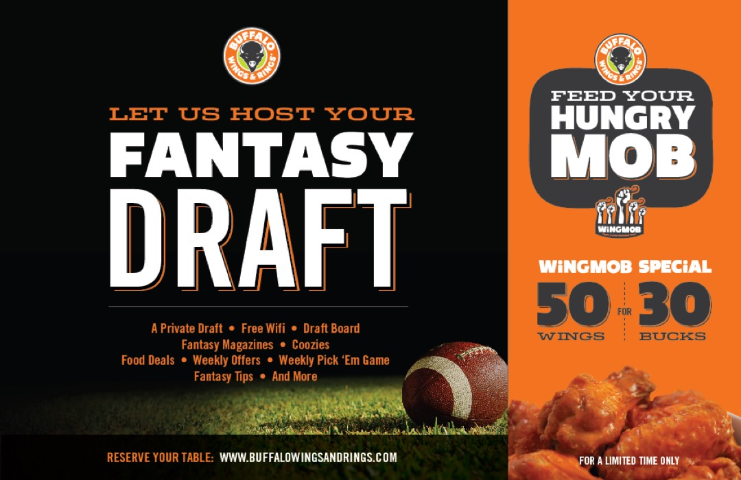 Buffalo Wings & Rings - Fantasy Football - Flyer