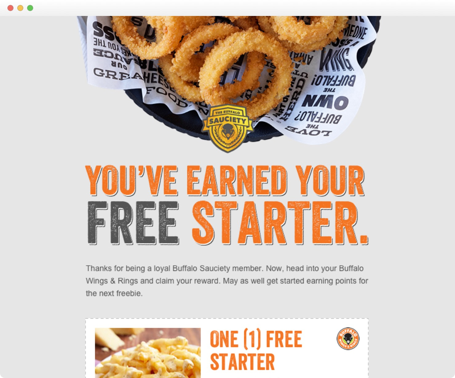 Buffalo Wings & Rings - Promos - Buffalo Sauciety email