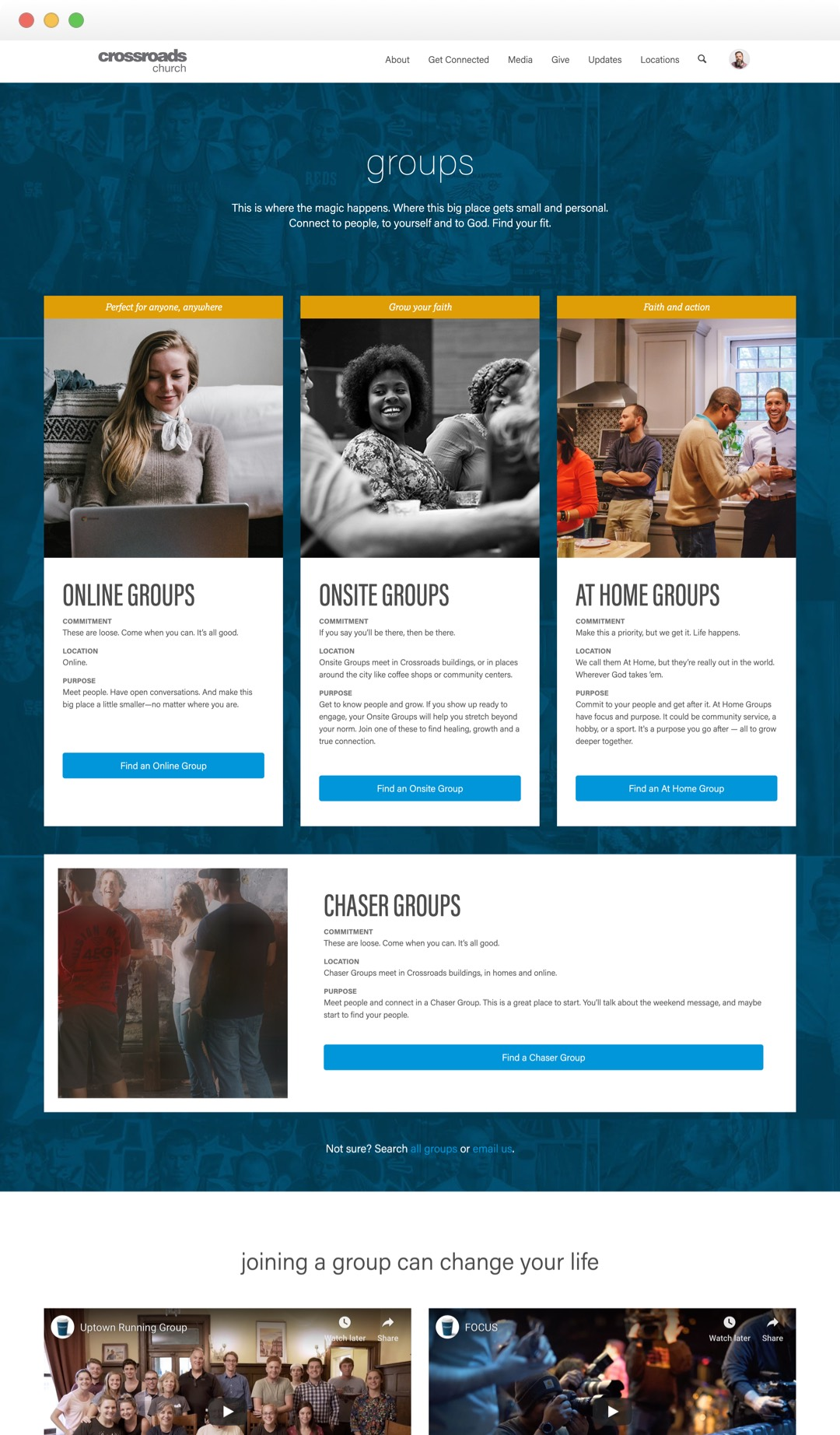 Crossroads Groups Landing Page