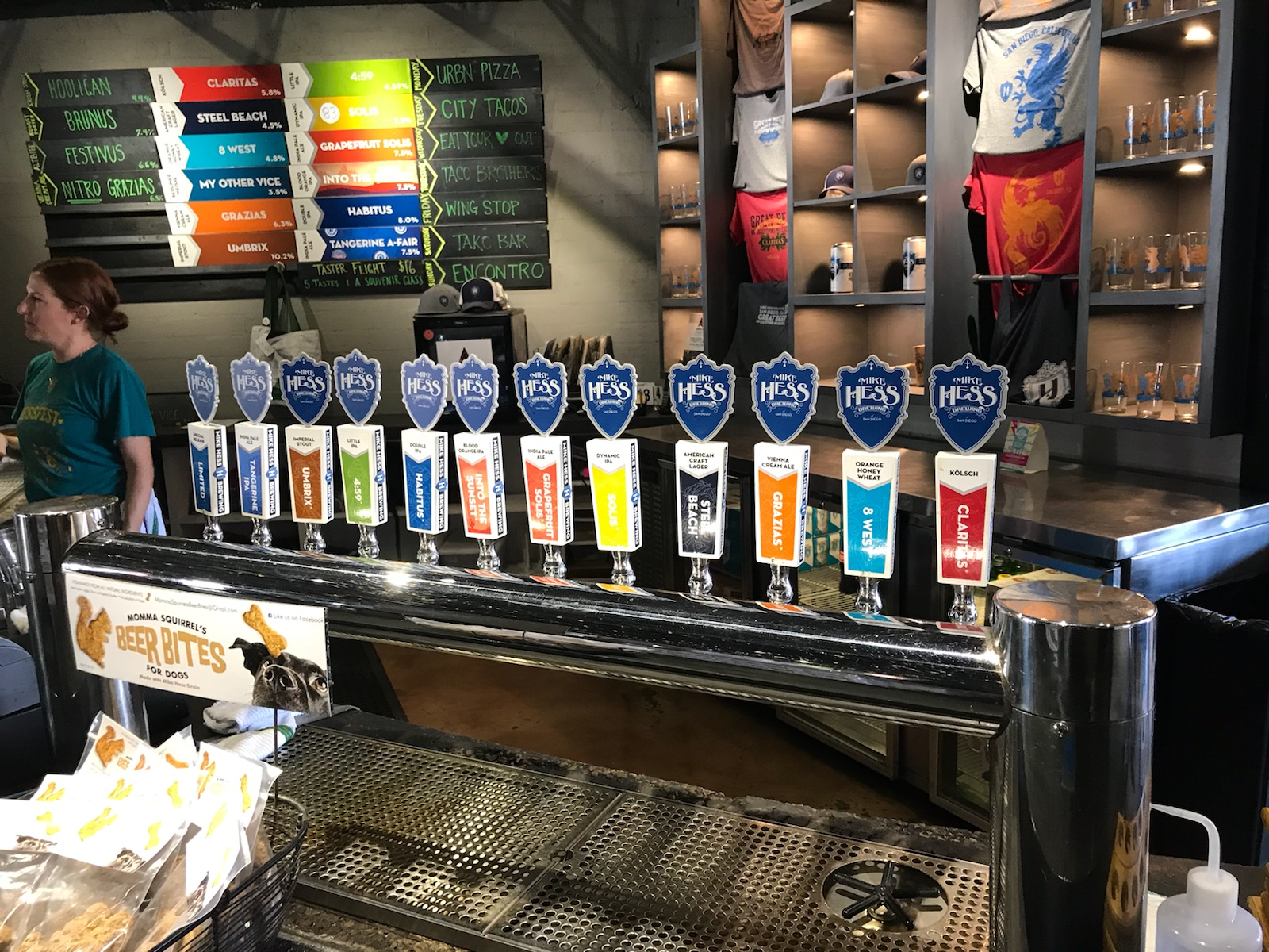 beer selection at Mike Hess Brewing