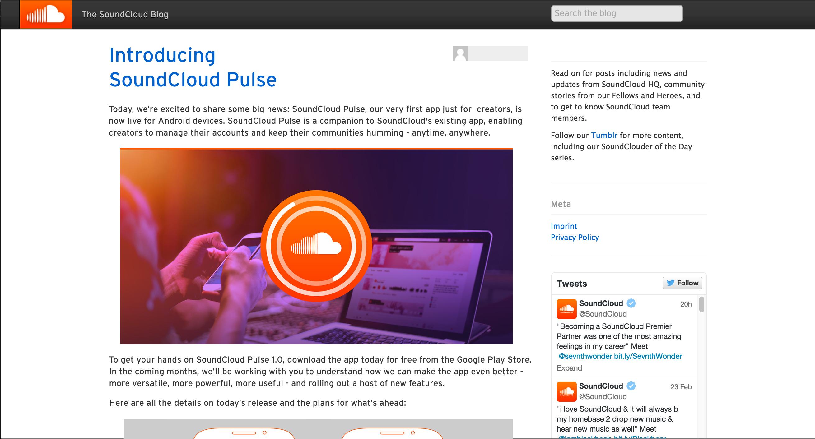 Image of the SoundCloud blog introducing SoundCloud Pulse