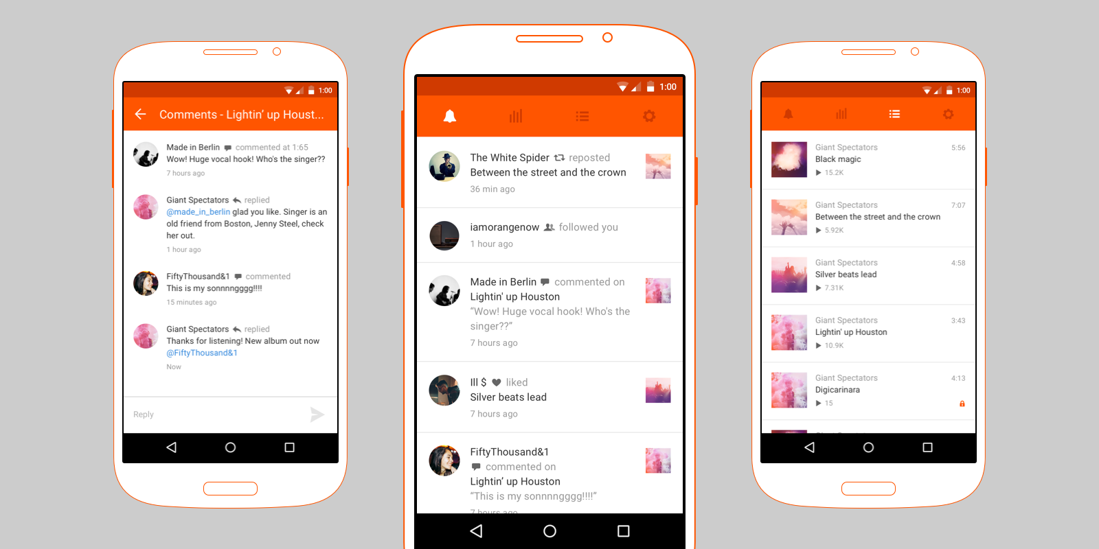 Three images of the SoundCloud Pulse app