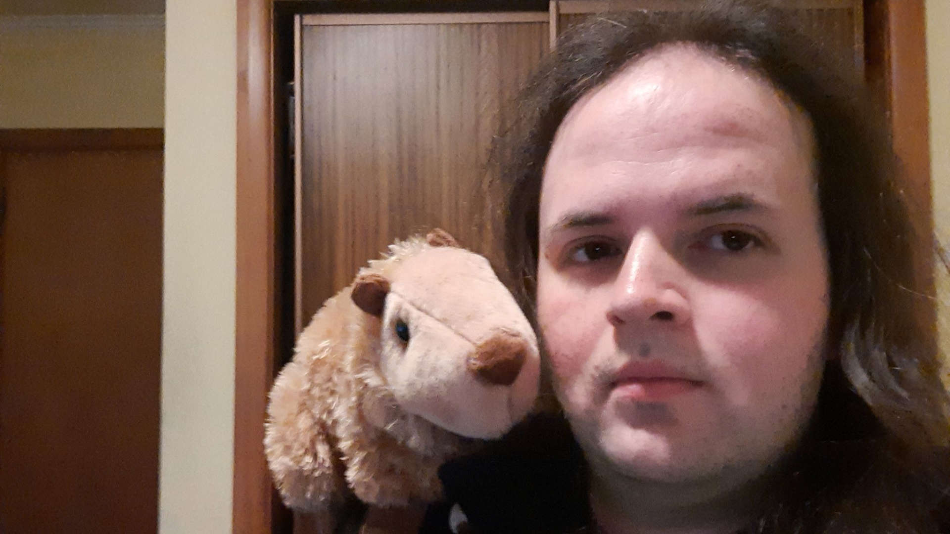 A picture of Cameron Hopkinson, who has long brown hair, light skin and dark eyes. They have a stuffed toy on their shoulder that resembles a wombat.