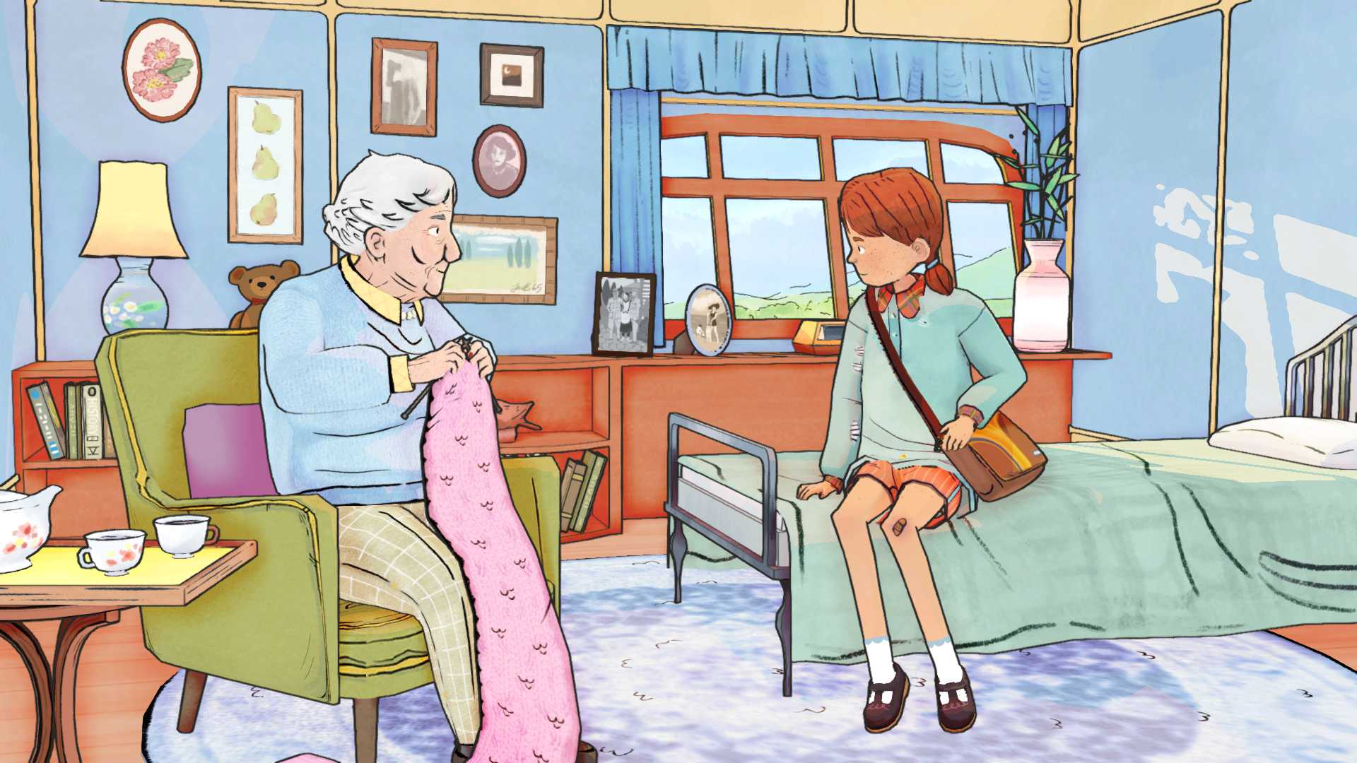 A screenshot from the video game Wayward Strand. An old woman sits in a green chair knitting a pink scarf looking at a girl sitting on the bed next to her.