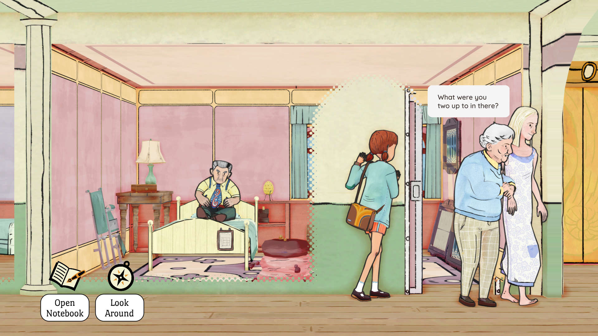 A cutaway through a wall shows an old man sitting on a bed as a girl places her ear against the wall. Two women are walking out the door of the room, the one on the left is hunched over and has grey hair and the one on the right is taller and has long blonde hair.