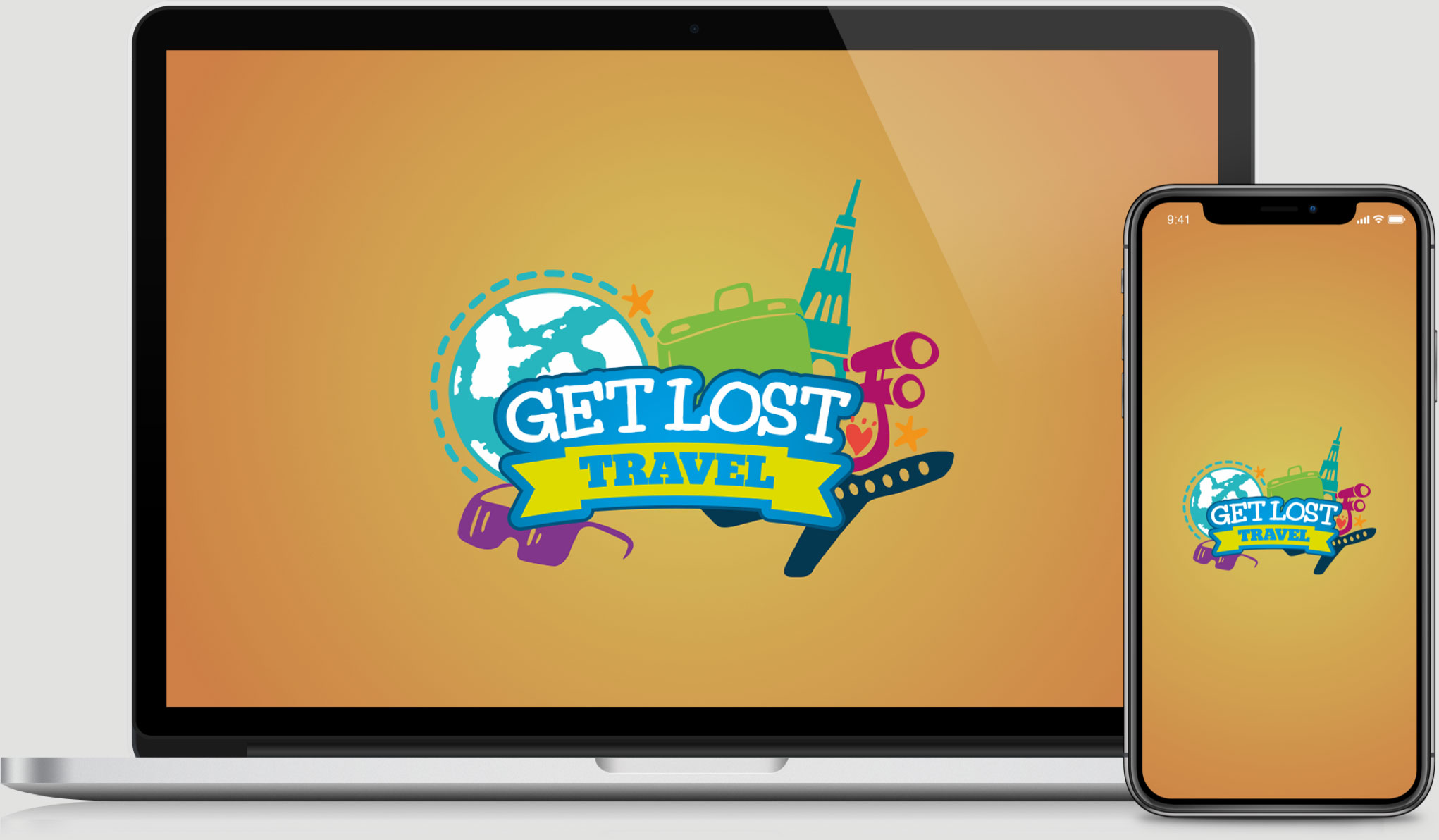 Get Lost Travel Laptop and iPhone