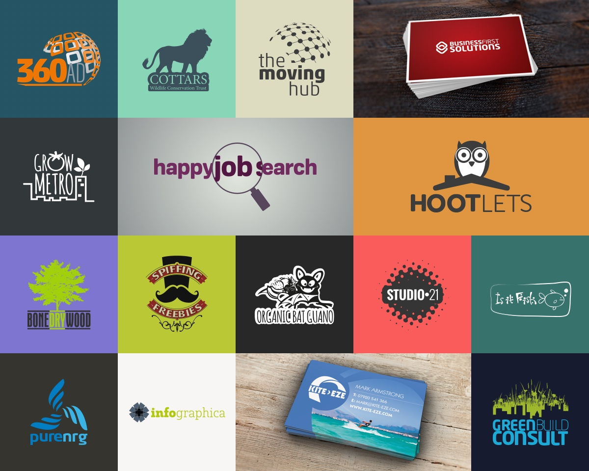 Multiple logo designs montage