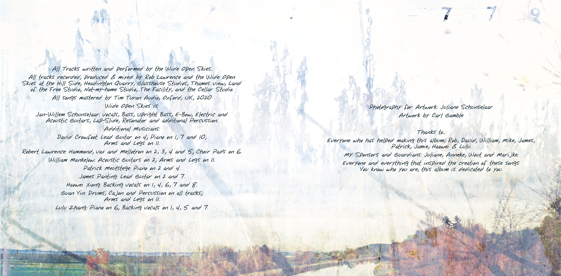 The Wide Open Skies CD album insides design