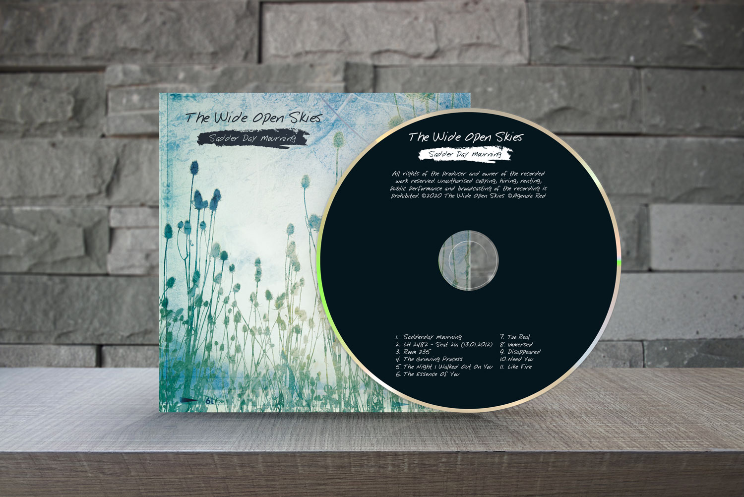 The Wide Open Skies CD album cover design and disc on a table