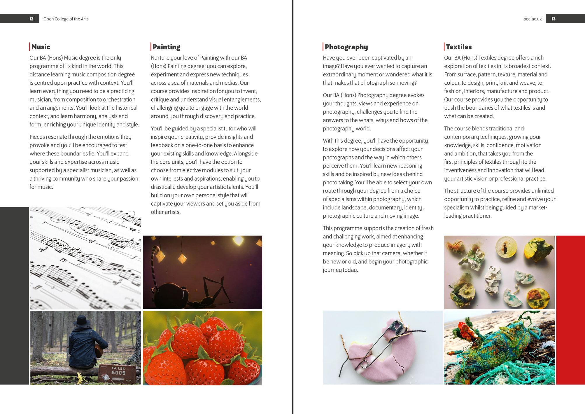 Open College of the Arts prospectus inside spread design
