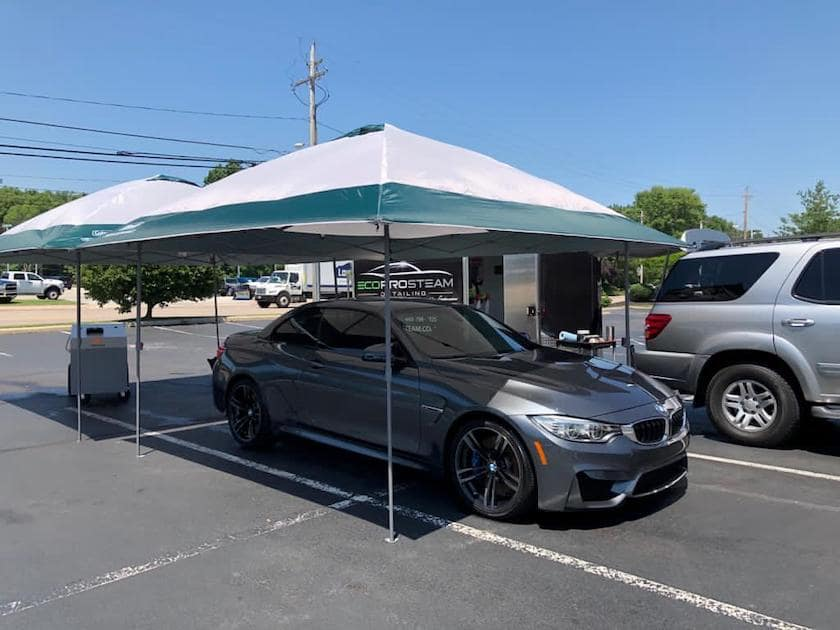 mobile steam car wash and auto detailing shade canopy