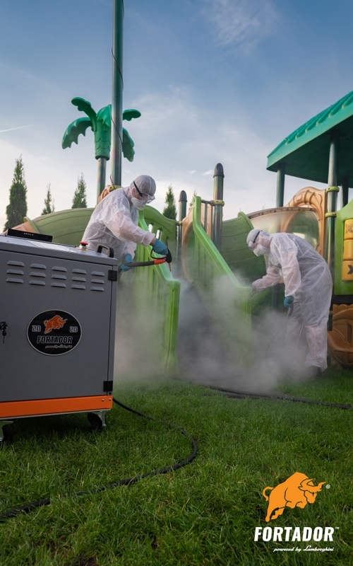 Steam cleaning of playground
