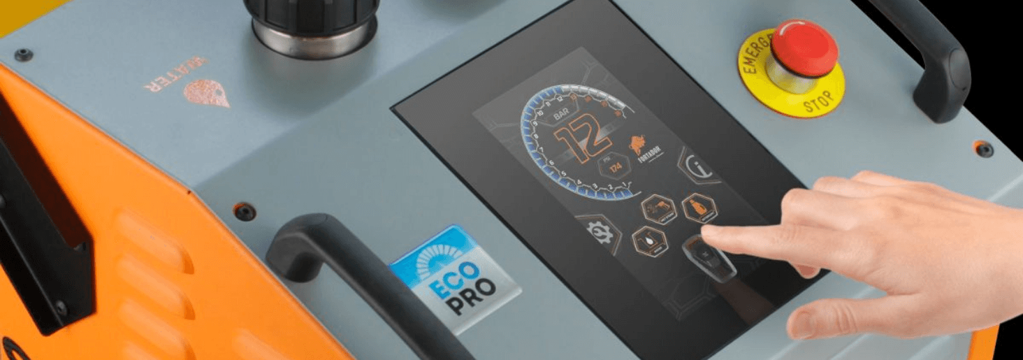 touchscreen to control steam cleaner