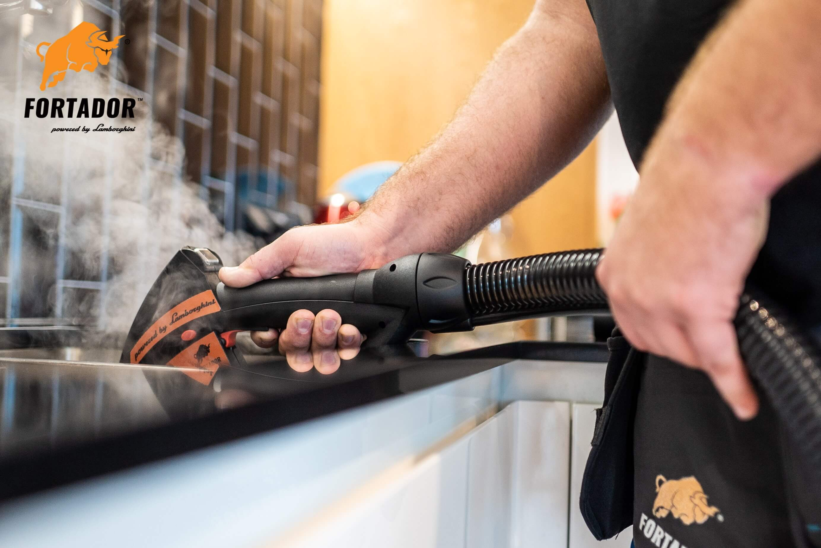 sanitizing of kitchen sink with steam cleaner