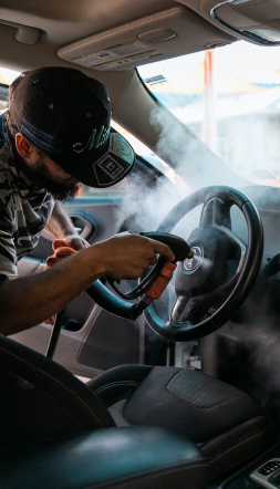 steam sanitizing of steering wheel