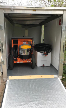 mobile car wash trailer with car cleaning steamer