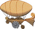 Illustrated web graphic of peddle airship for web and graphic design services