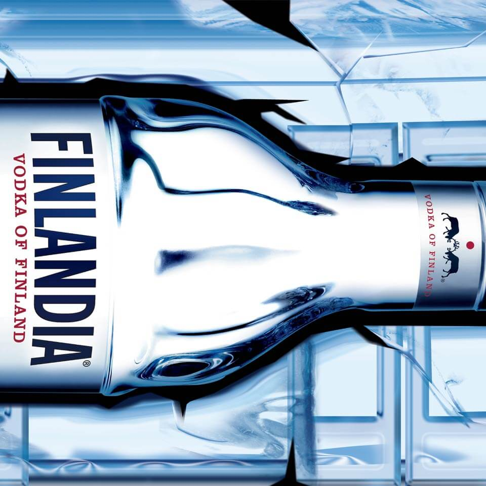 Close up detail of Finlandia bus wrap design with bottle