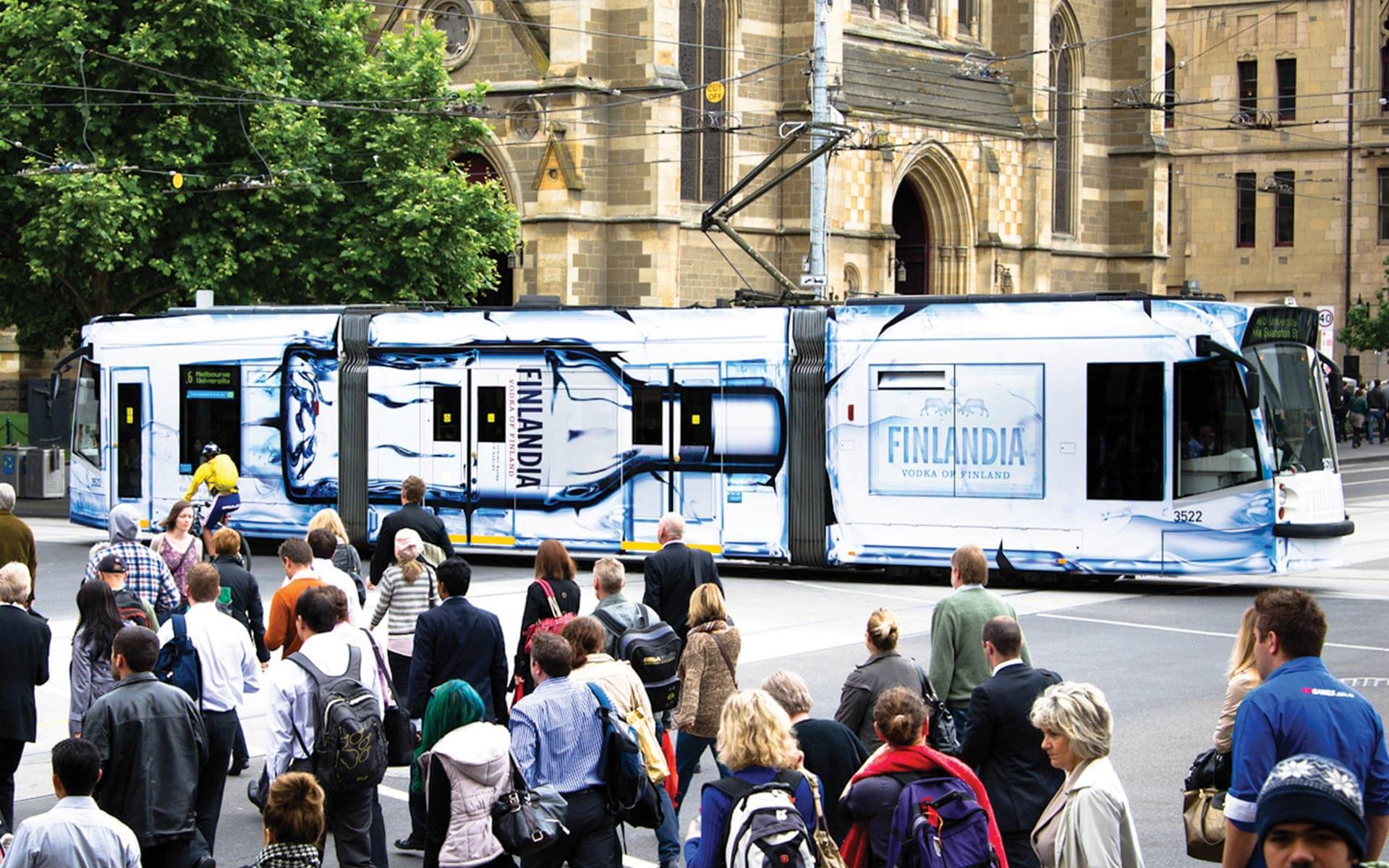 Finlandia branded tram, Melbourne side view