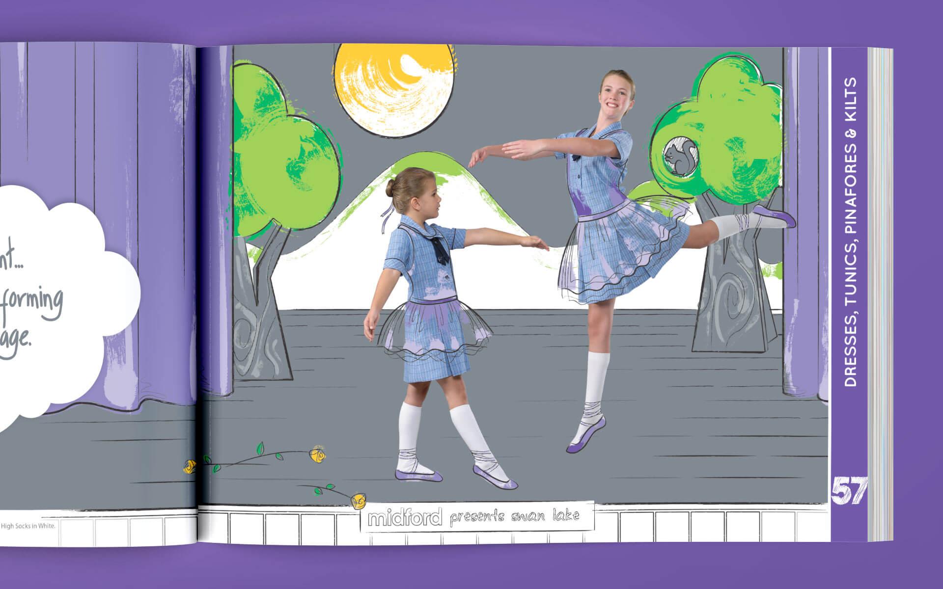 Midford catalogue dresses, tunics, pinafores and kilts ballerina spread