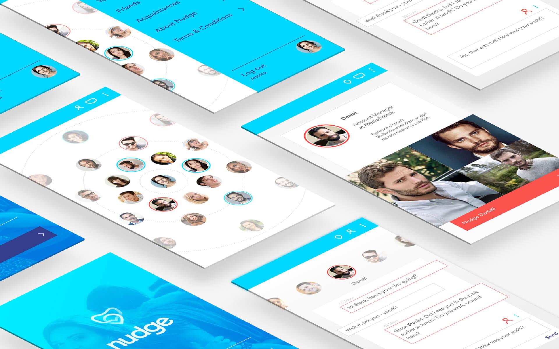 Nudge App UX/UI screens