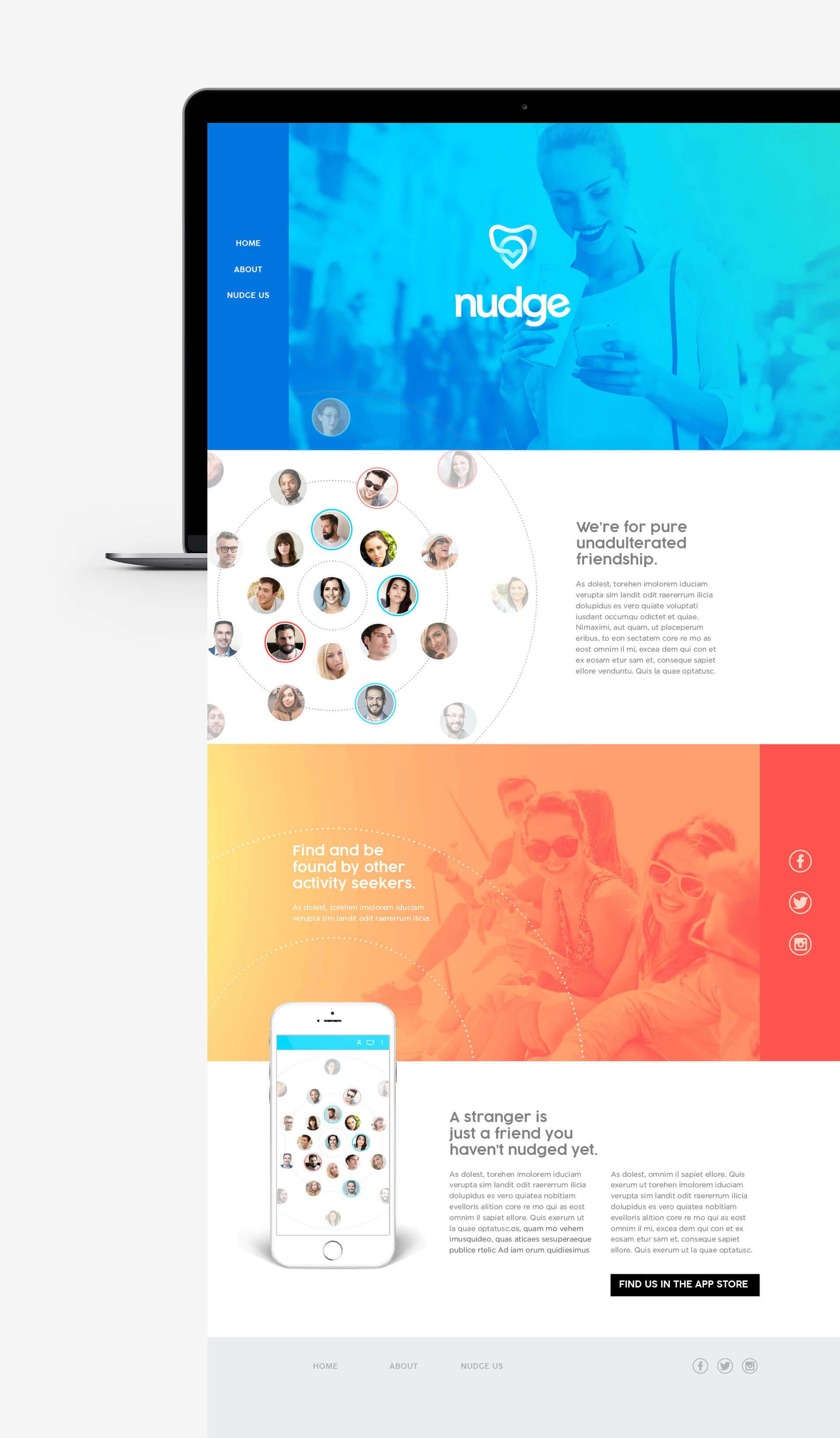 Nudge website homepage design