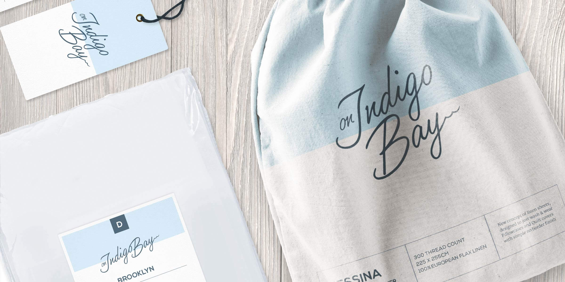Branding for fresh new linen and homewares brand, On Indigo Bay