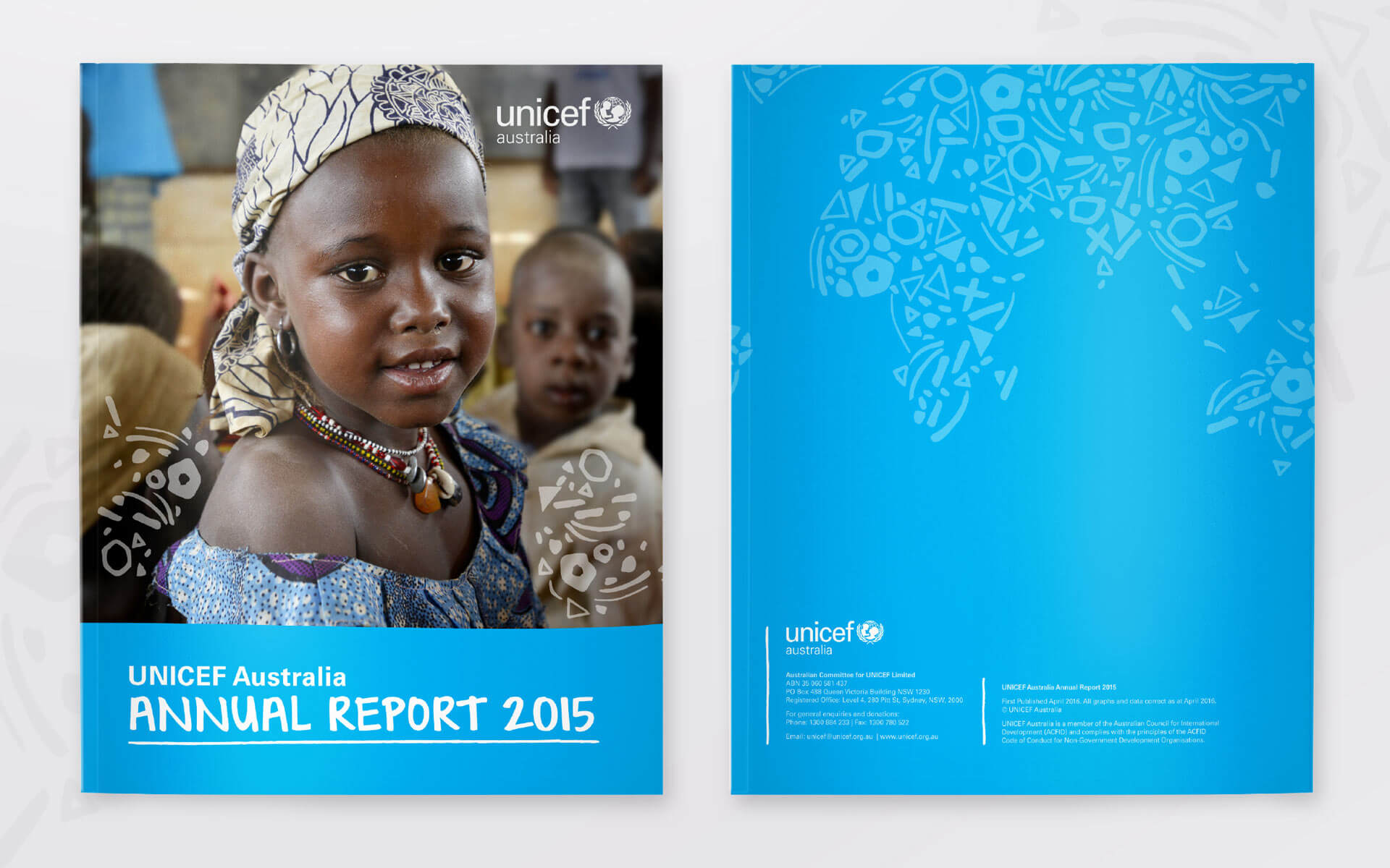 UNICEF Annual Report cover/back cover design.