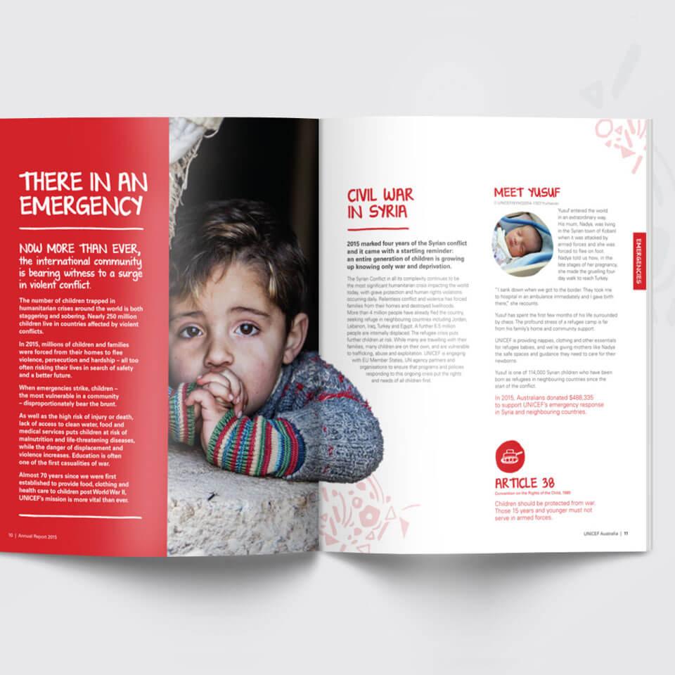 UNICEF Annual Report spread design. Syria conflict content.