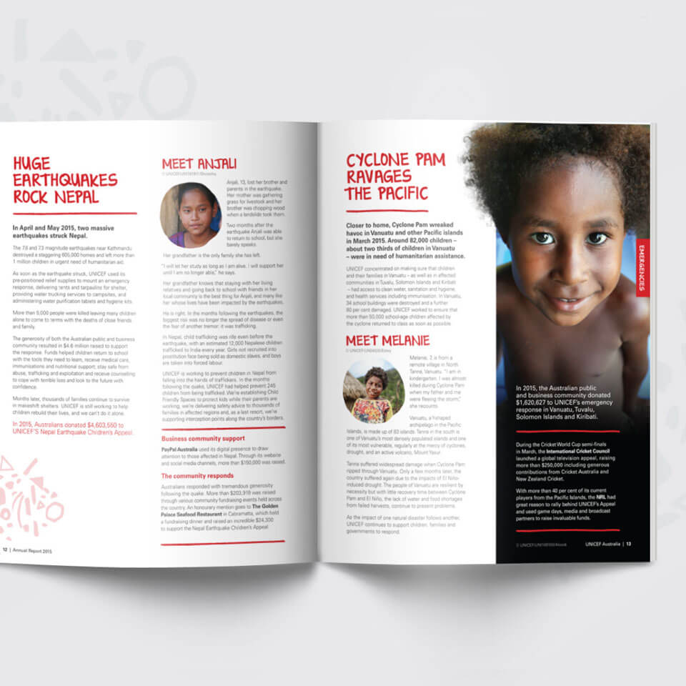 UNICEF Annual Report spread design. Nepal earthquake content.