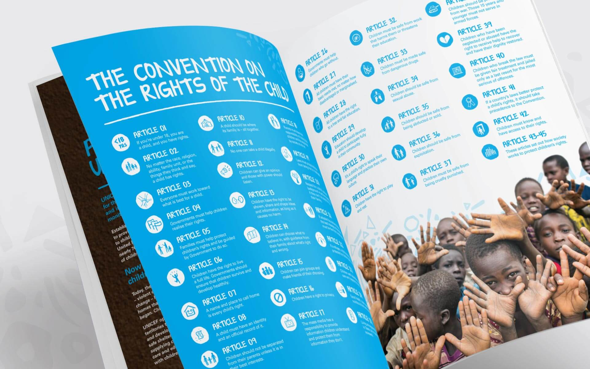 UNICEF Annual Report. The convention on the rights of a child inside spread design.