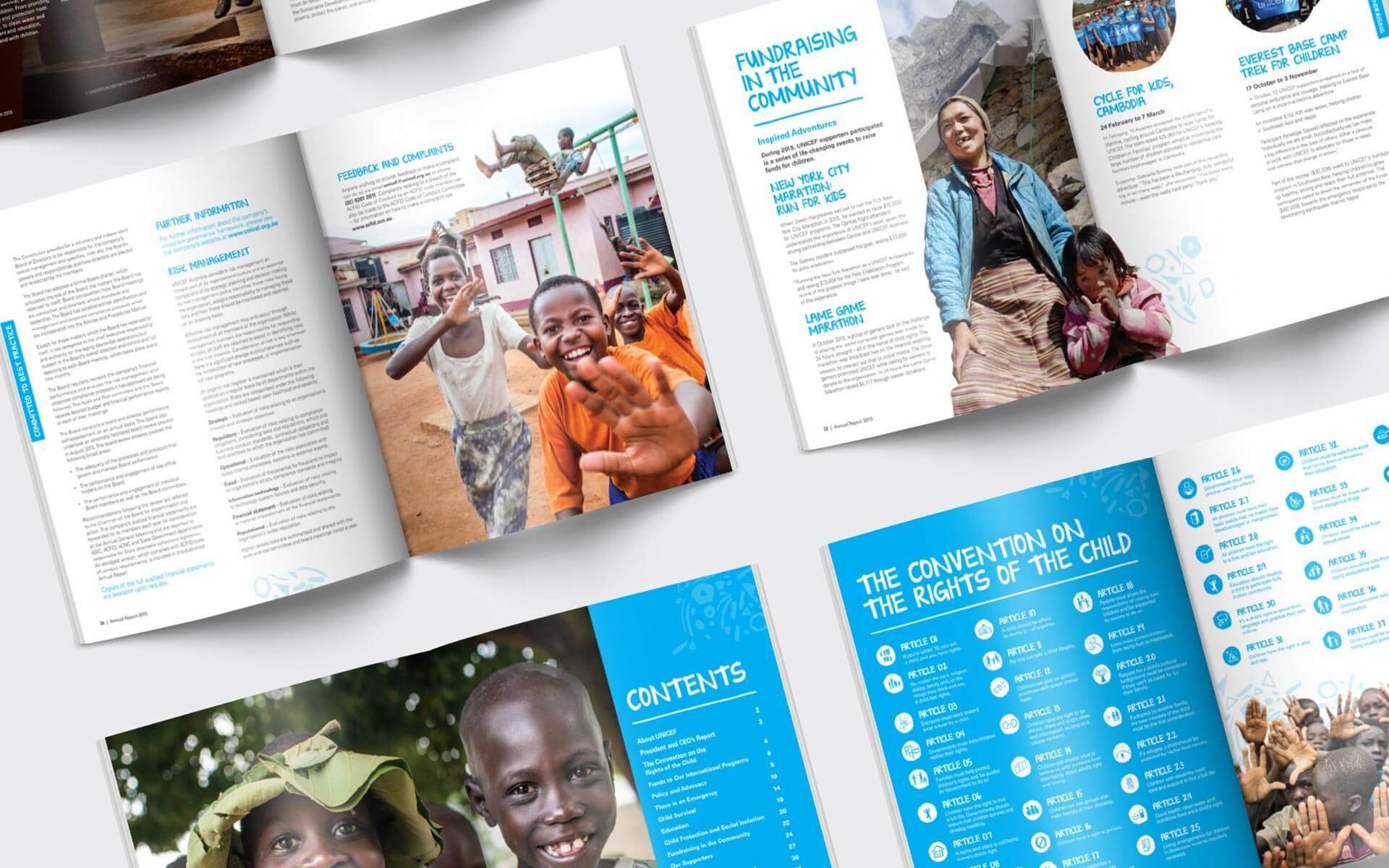 UNICEF Annual Report. Inside spreads design publication layout.