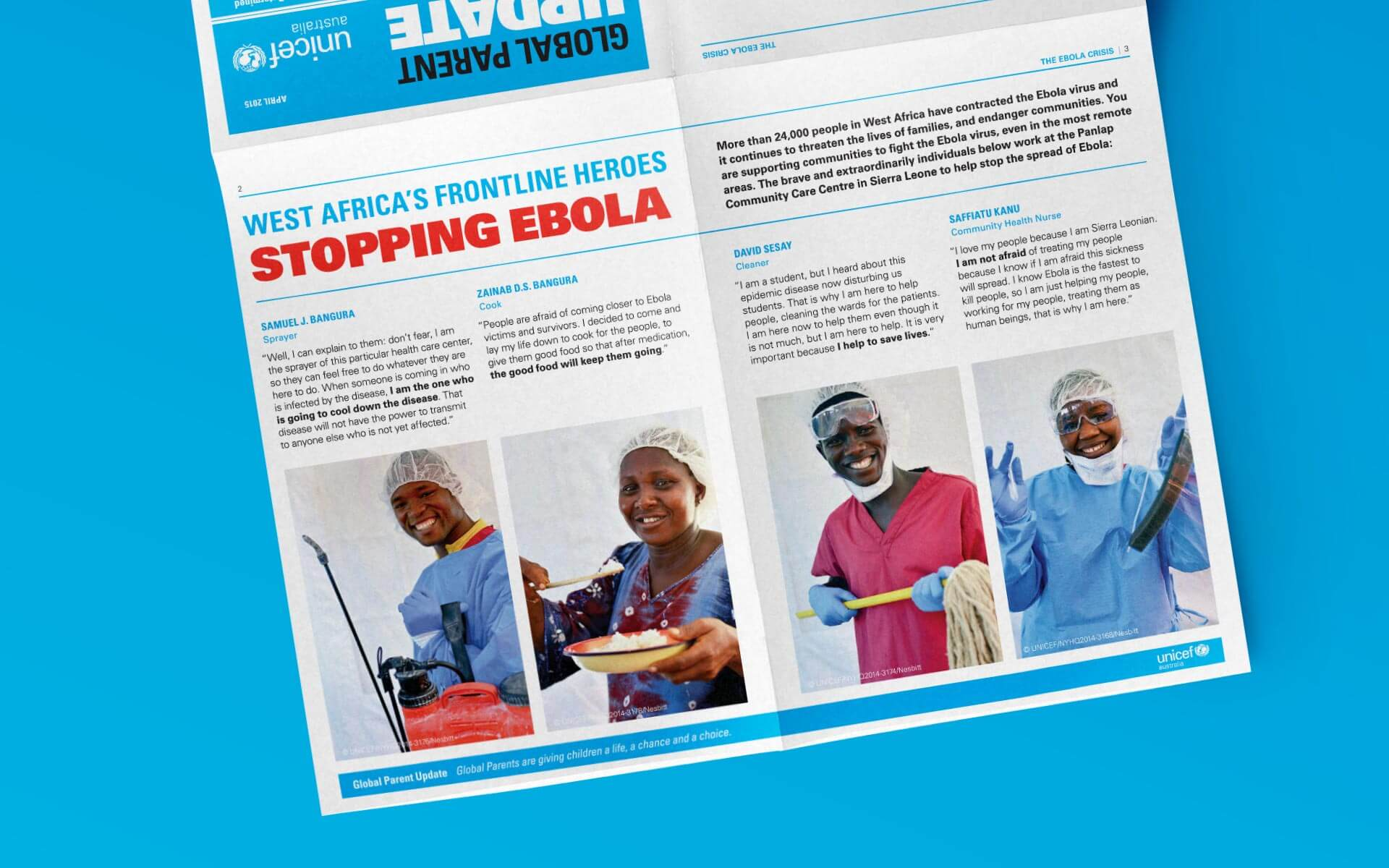 UNICEF Global Parent Update design, inside pages