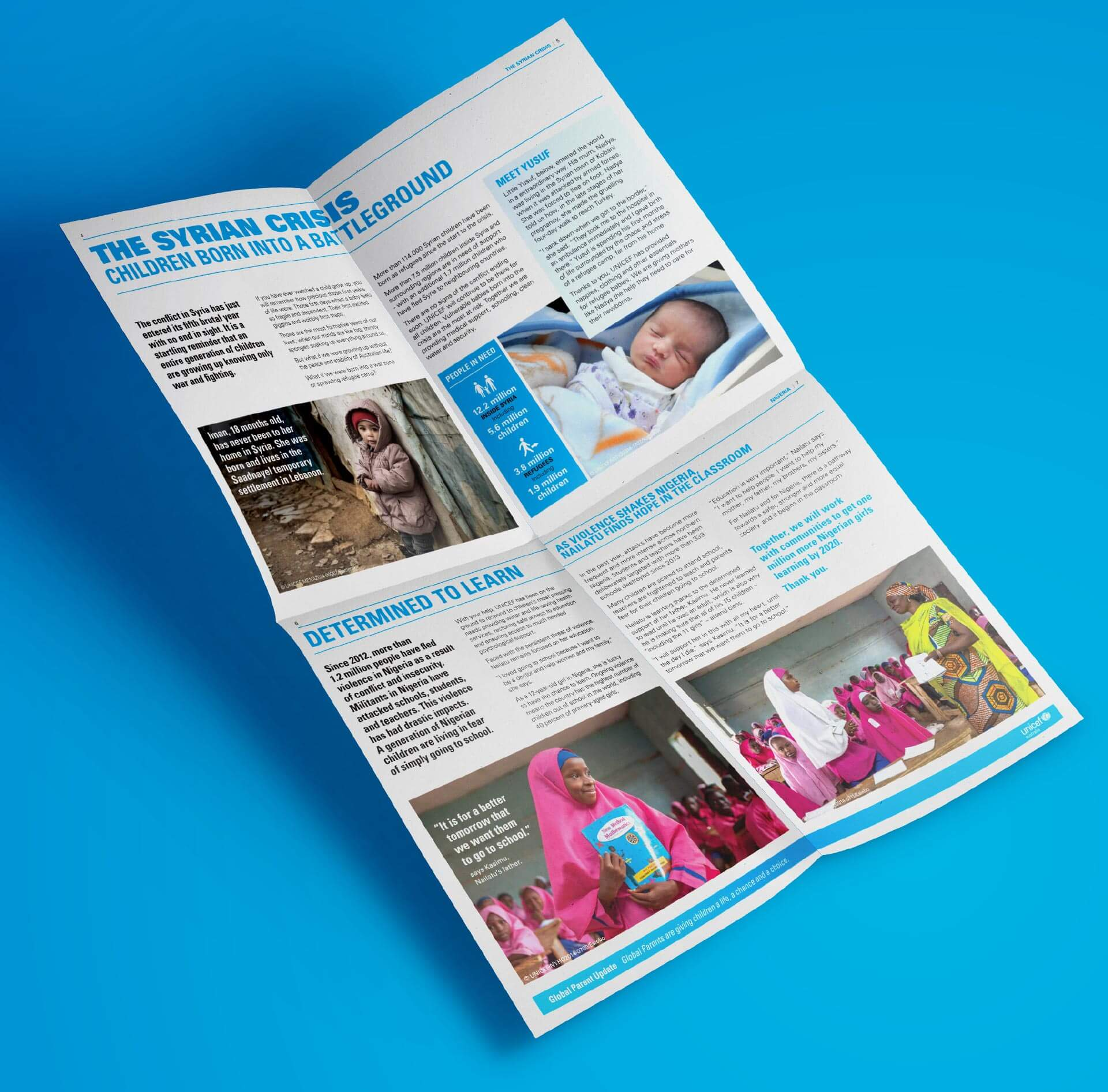 UNICEF Global Parent Update design, fold out