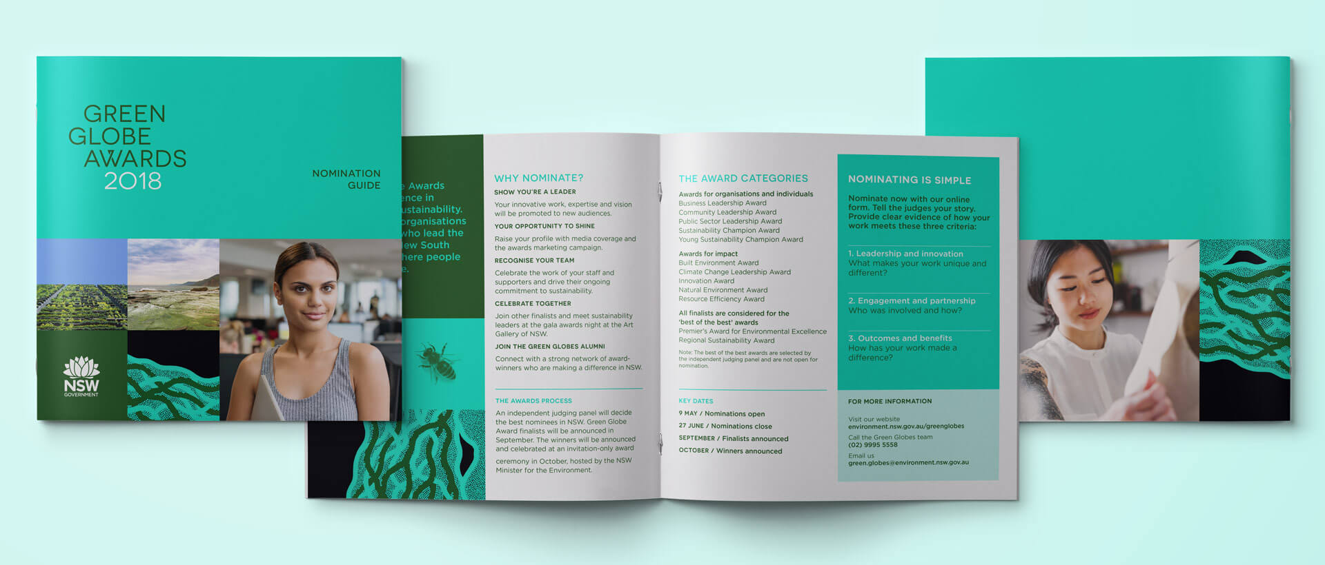 The Green Globe Awards booklet, inside pages, cover and back cover.