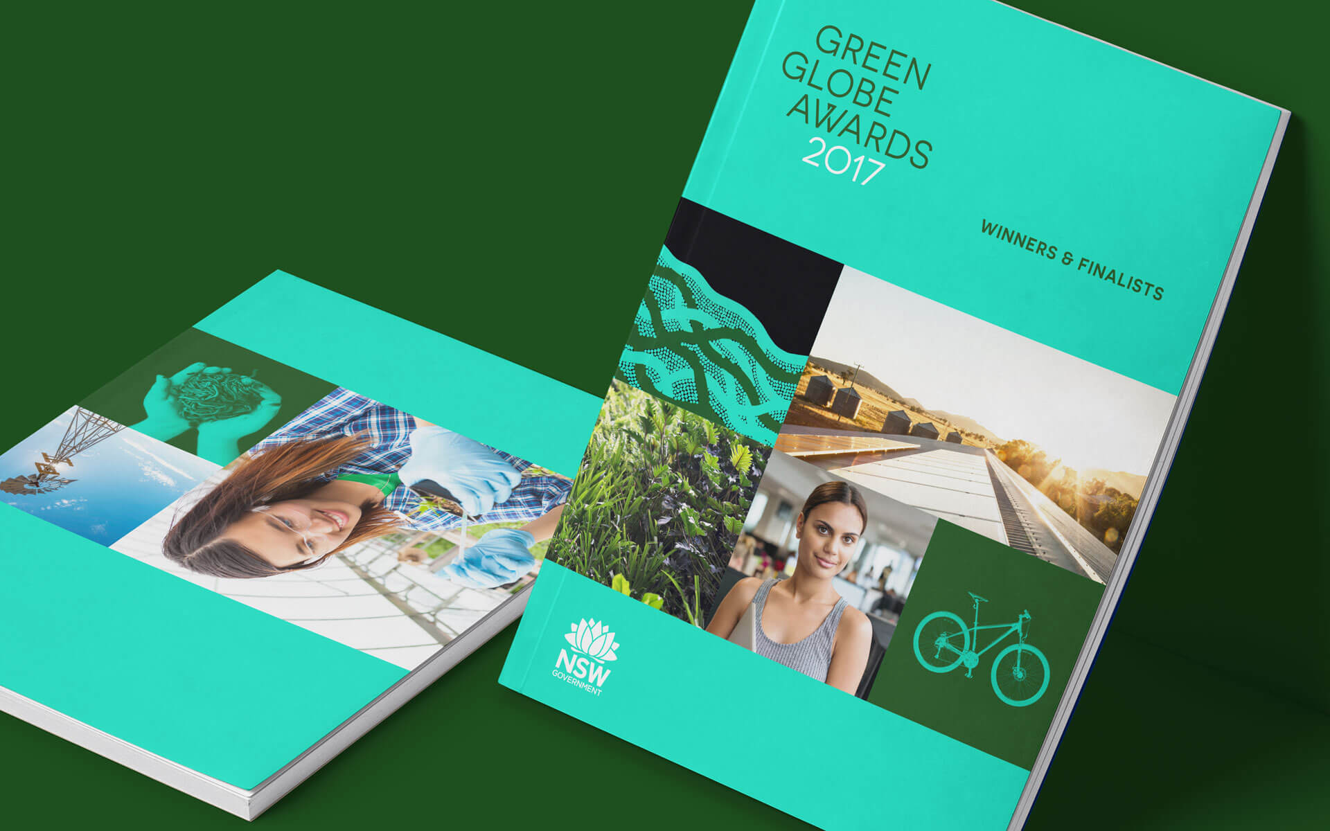 The Green Globe Awards winners and finalists book design.