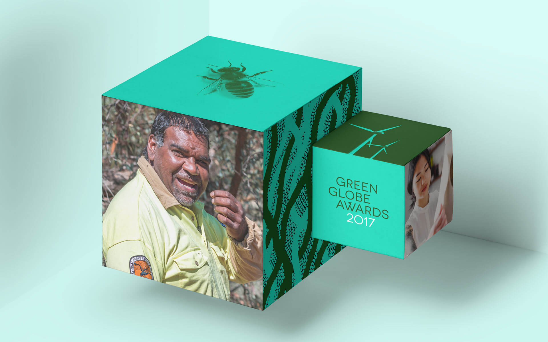 The Green Globe Awards rebrand, stage set boxes